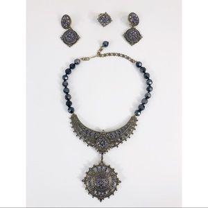 Heidi Daus Necklace earring Tanzanite Crystal Set